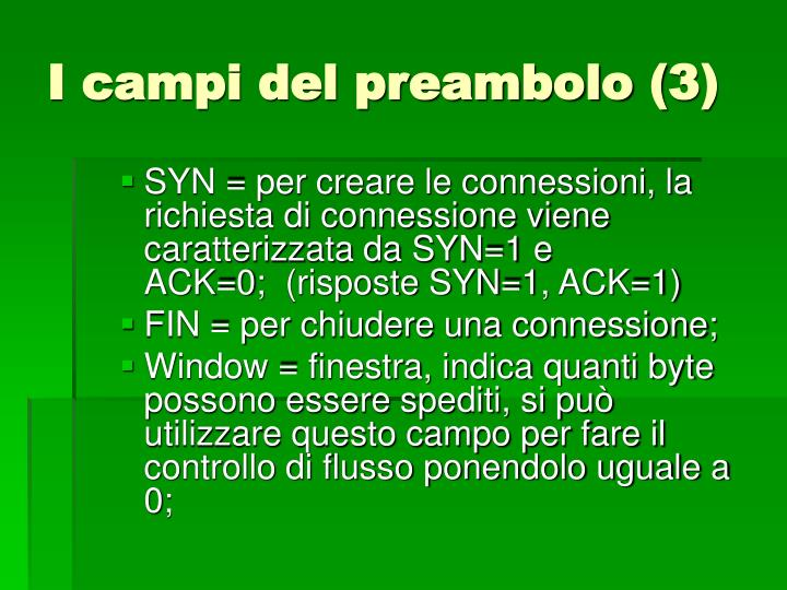 I campi del preambolo (3)