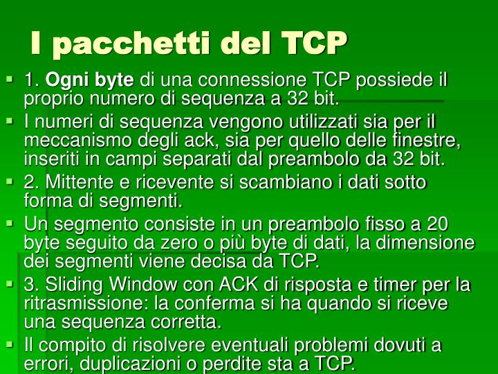 I pacchetti del TCP
