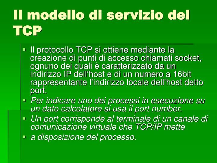 Il modello di servizio del TCP