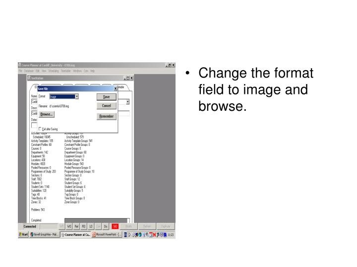 Change the format field to image and browse.