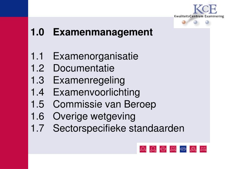 1.0 Examenmanagement