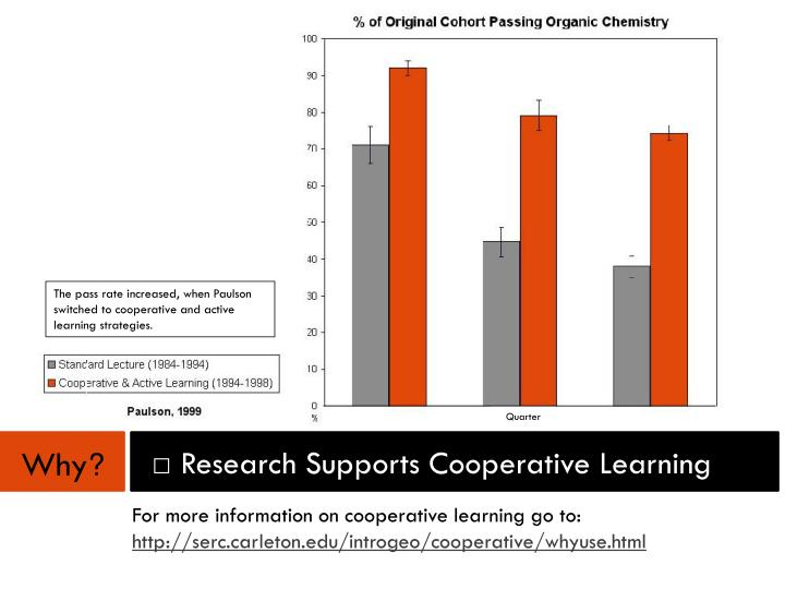 The pass rate increased, when Paulson switched to cooperative and active learning strategies