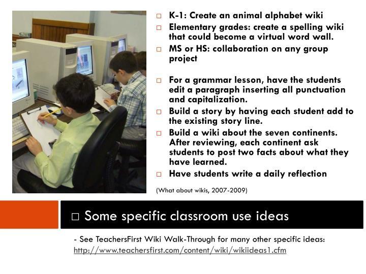K-1: Create an animal alphabet wiki