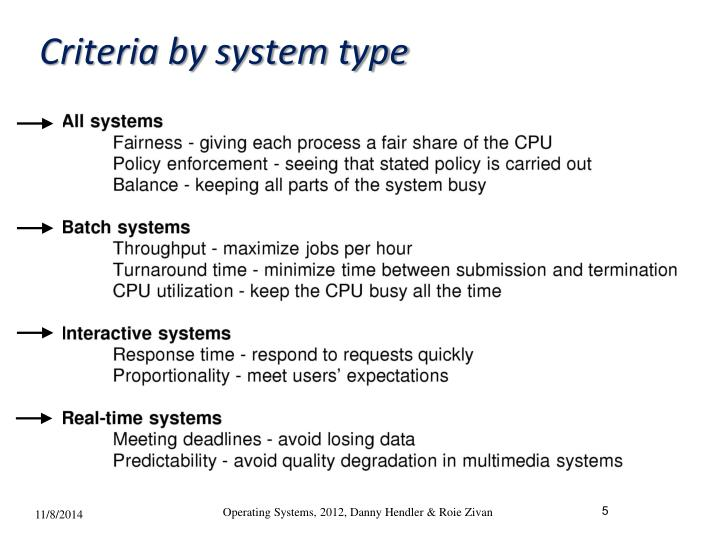 Criteria by system type
