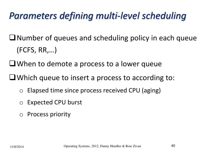 Parameters defining multi-level scheduling
