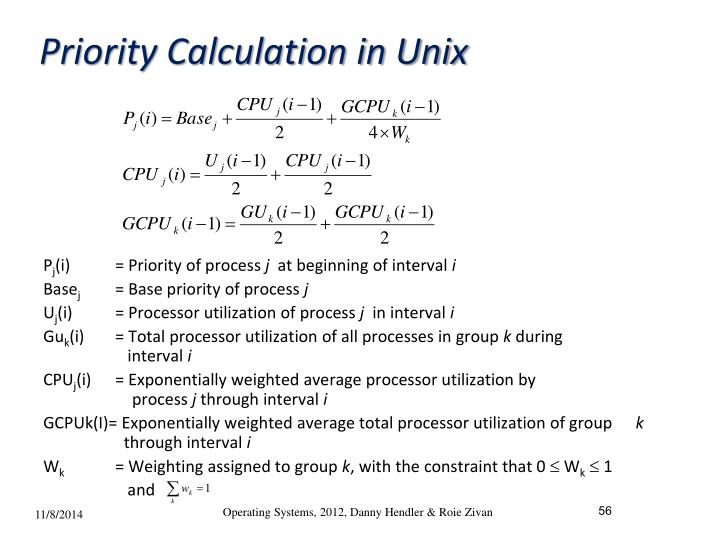 Priority Calculation in Unix