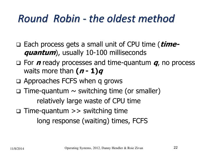 Round  Robin - the oldest method