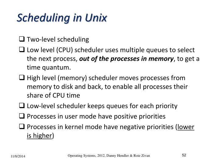 Scheduling in Unix