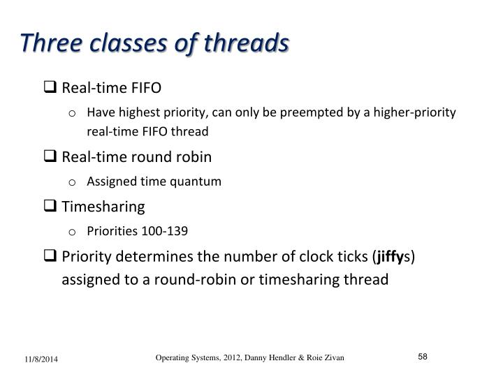 Three classes of threads