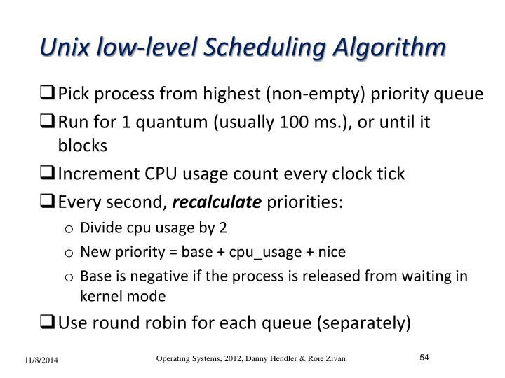 Unix low-level Scheduling Algorithm