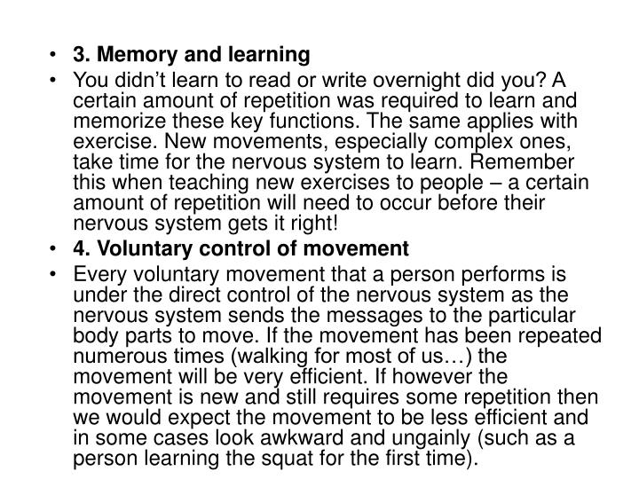 3. Memory and learning
