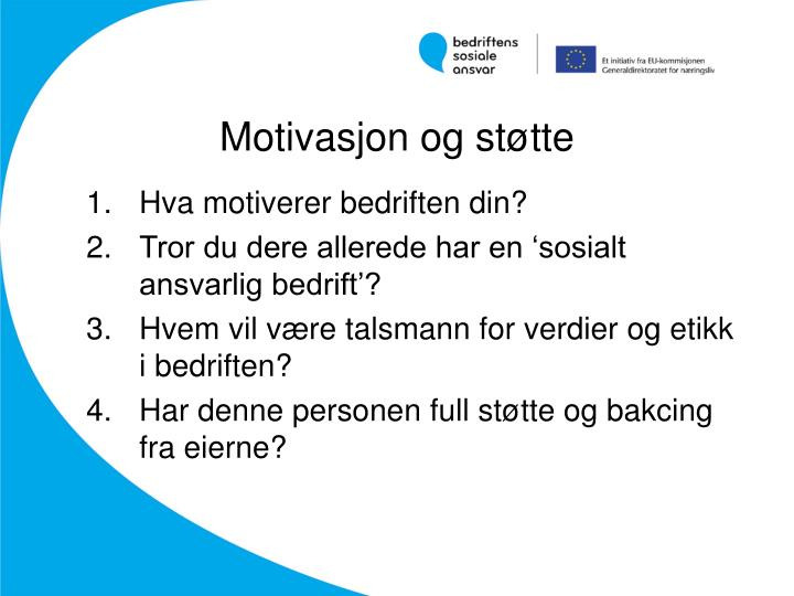 Motivasjon og støtte