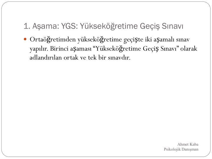 1. Aşama: YGS: Yükseköğretime Geçiş Sınavı