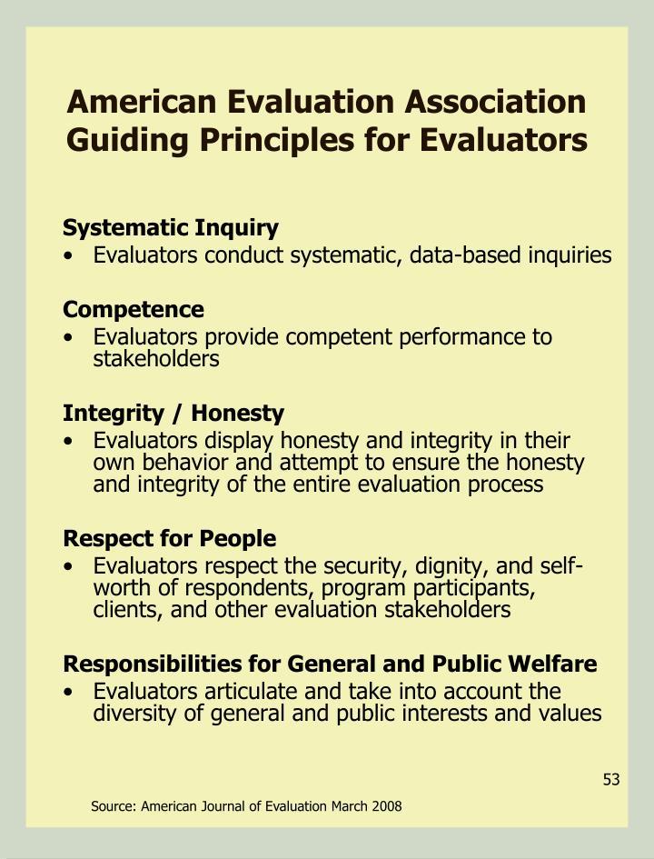 American Evaluation Association Guiding Principles for Evaluators