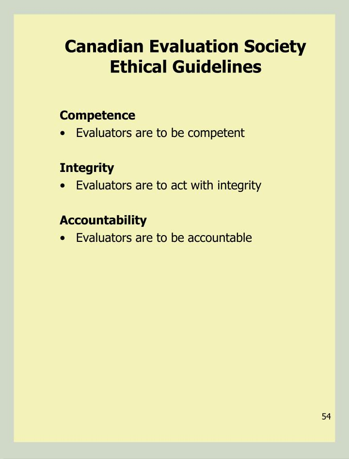 Canadian Evaluation Society Ethical Guidelines