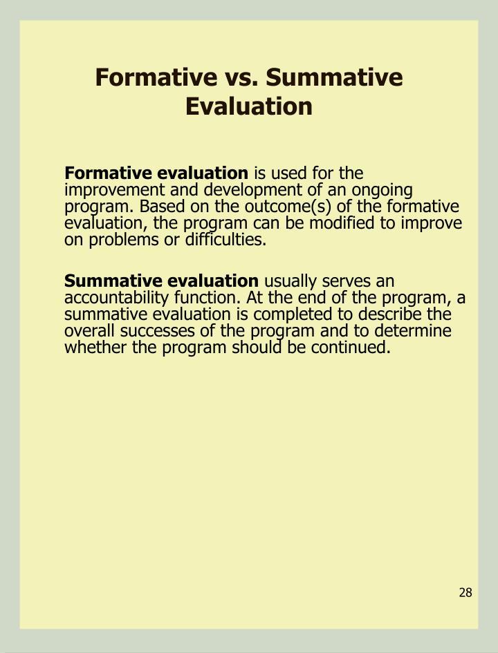 Formative vs. Summative Evaluation