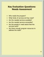 key evaluation questions needs assessment