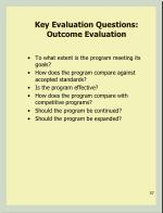 key evaluation questions outcome evaluation