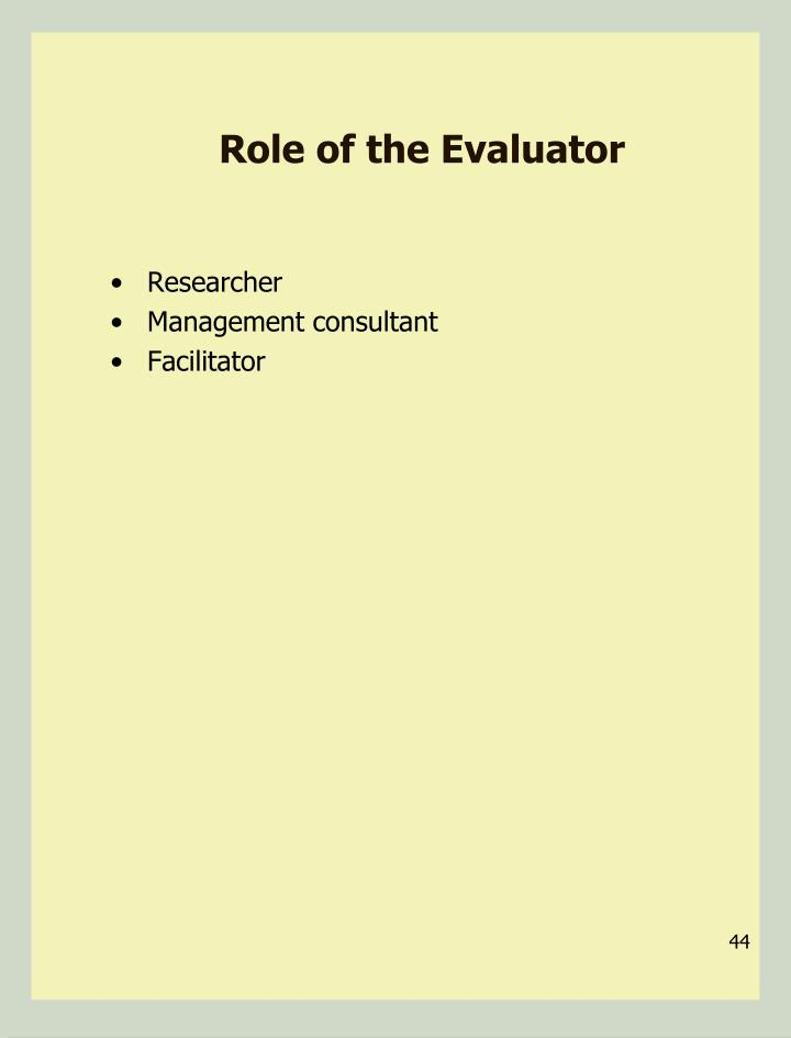 Role of the Evaluator