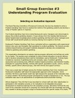 small group exercise 3 understanding program evaluation
