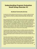 understanding program evaluation small group exercise 2