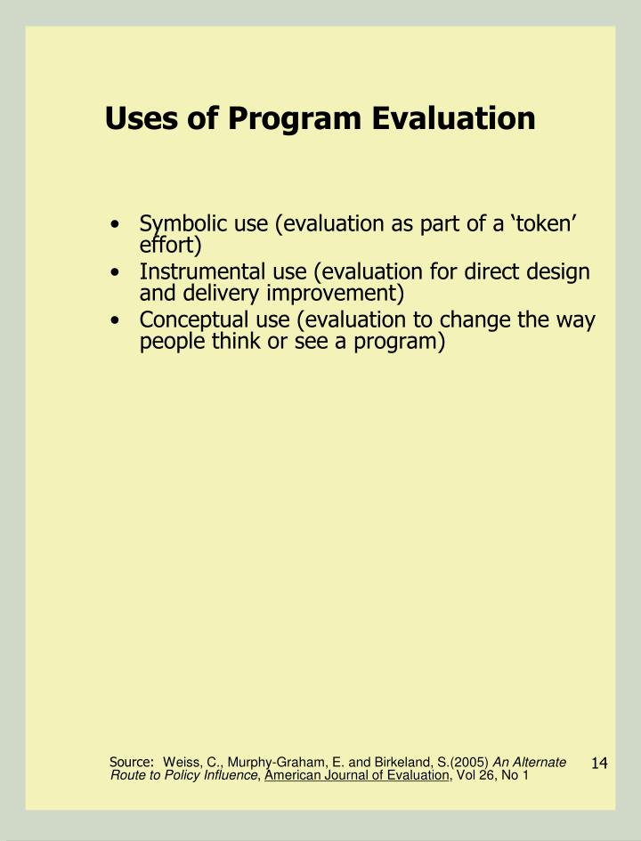 Uses of Program Evaluation
