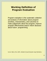 working definition of program evaluation