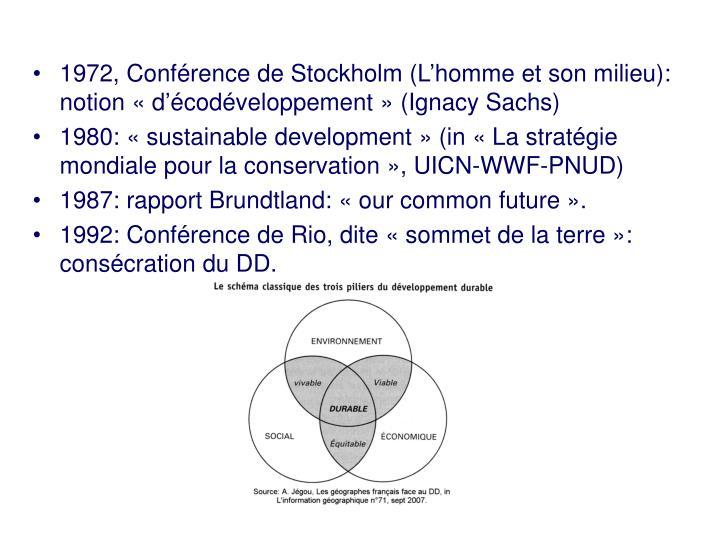 1972, Conférence de Stockholm (L'homme et son milieu): notion «d'écodéveloppement» (Ignacy Sachs)