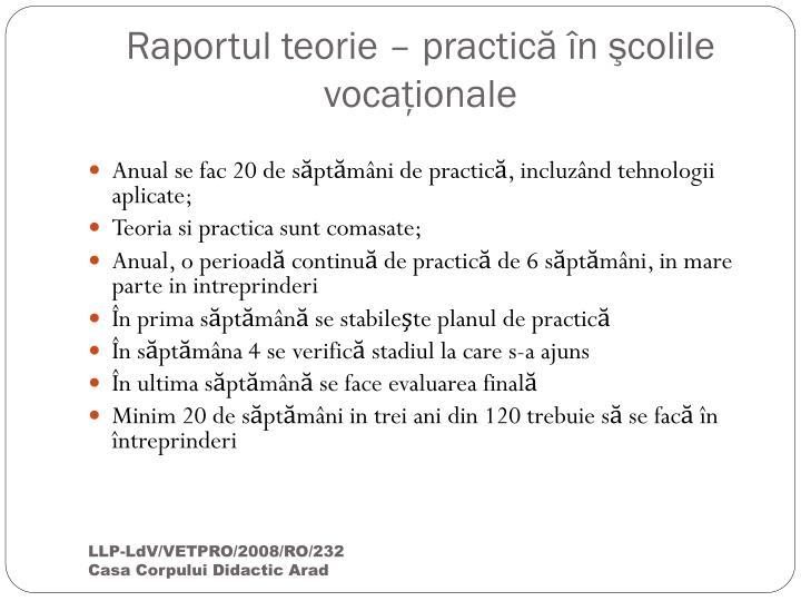 Raportul teorie – practică în şcolile vocaţionale