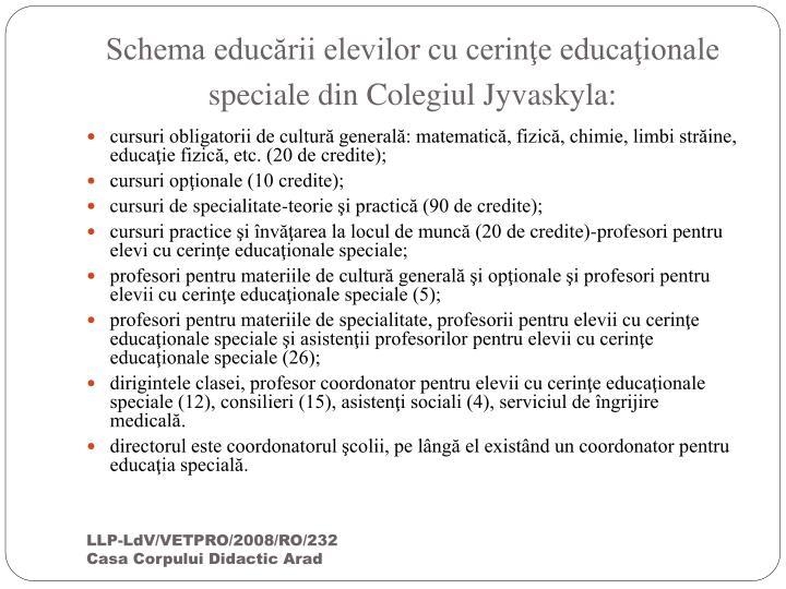 Schema educării elevilor cu cerinţe educaţionale speciale din Colegiul Jyvaskyla: