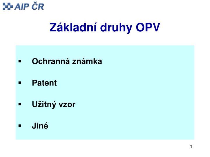 Základní druhy OPV