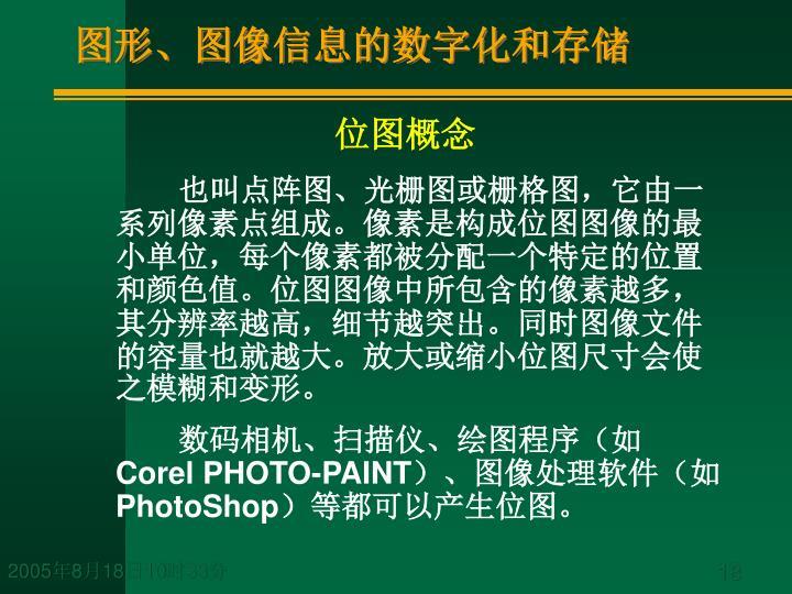 图形、图像信息的数字化和存储