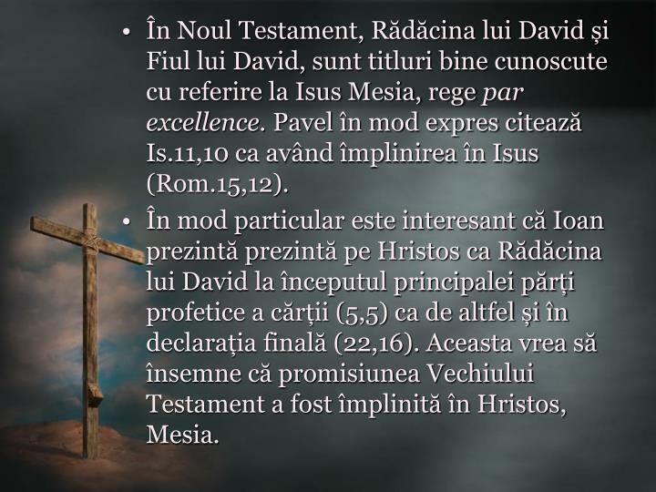 În Noul Testament, Rădăcina lui David și Fiul lui David, sunt titluri bine cunoscute cu referire la Isus Mesia, rege