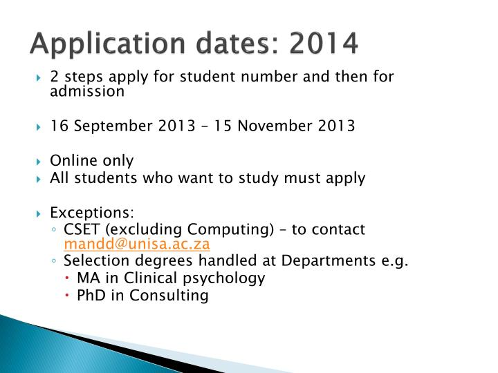 Application dates: 2014