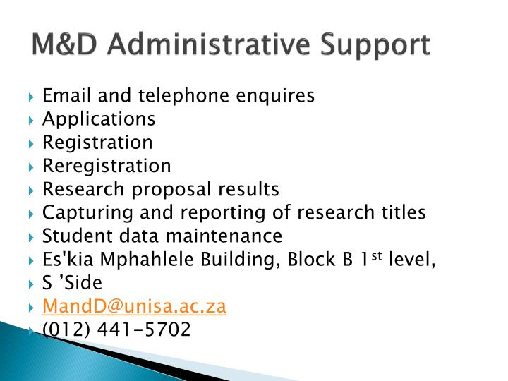 M&D Administrative Support