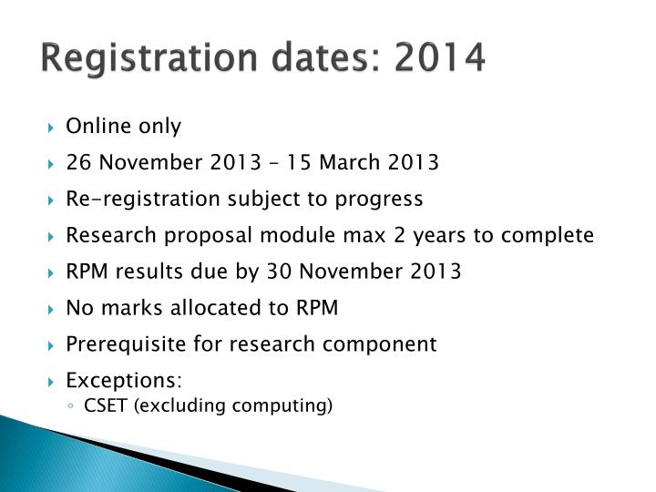 Registration dates: 2014