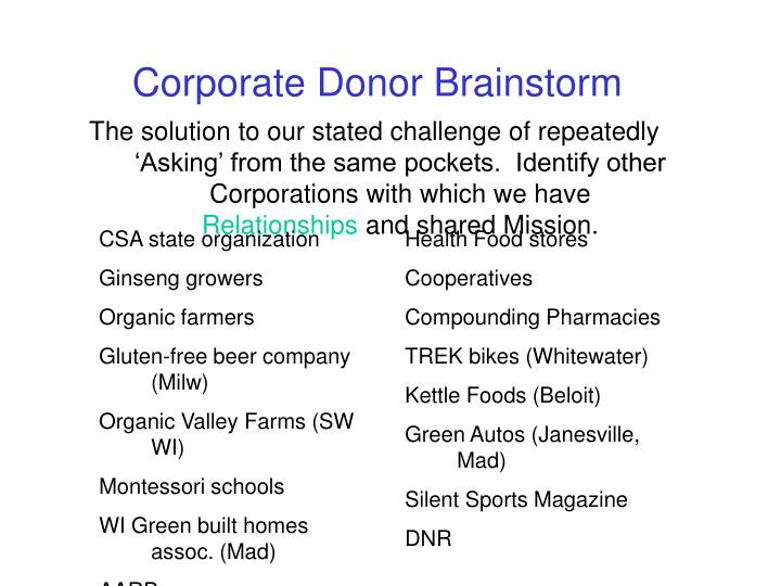 Corporate Donor Brainstorm
