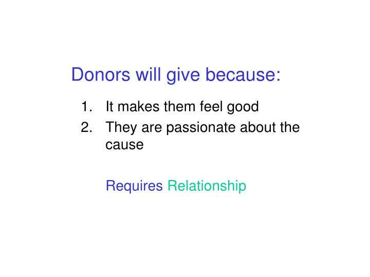 Donors will give because: