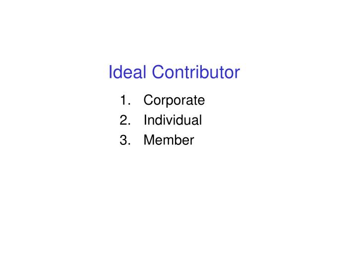 Ideal Contributor