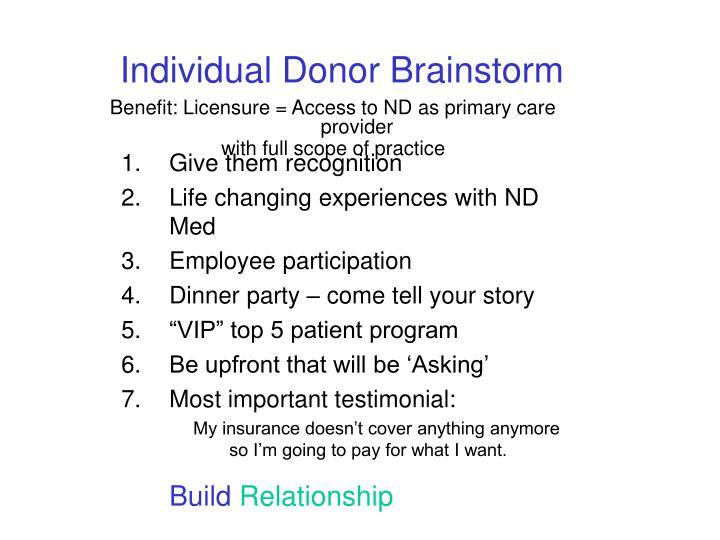Individual Donor Brainstorm