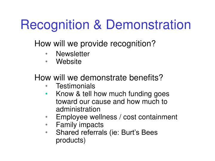 How will we provide recognition?