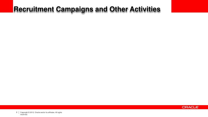 Recruitment Campaigns and Other Activities