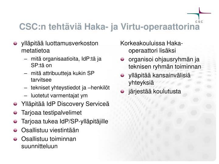 CSC:n tehtäviä Haka- ja Virtu-operaattorina