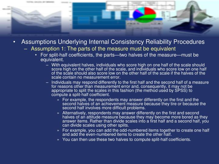 Assumptions Underlying Internal Consistency Reliability Procedures