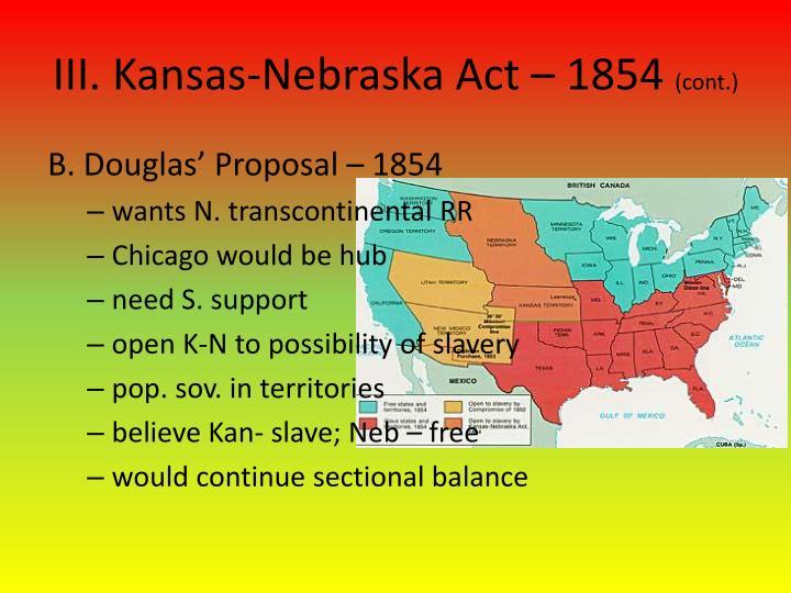 III. Kansas-Nebraska Act –