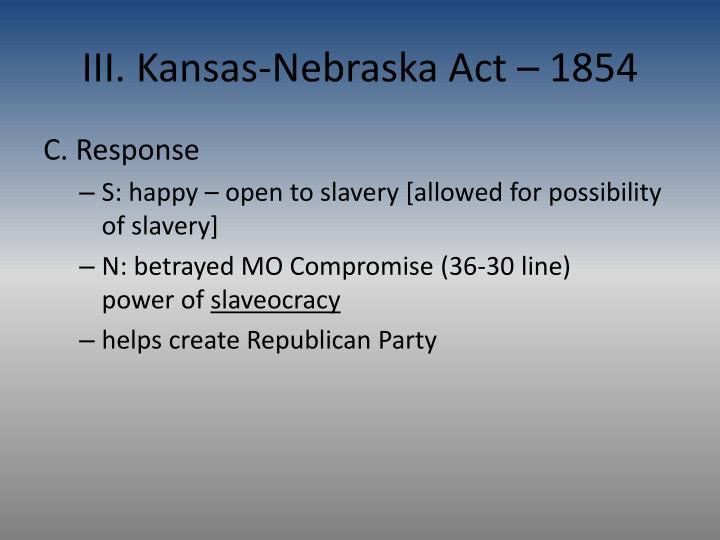 III. Kansas-Nebraska Act – 1854
