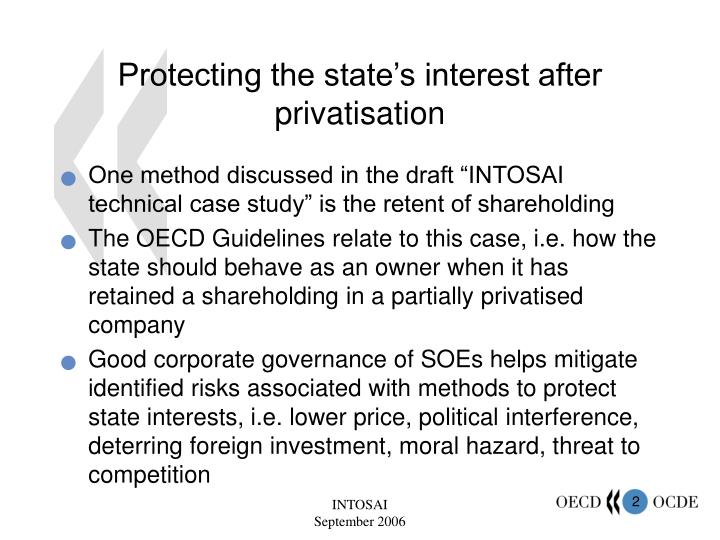 Protecting the state's interest after privatisation