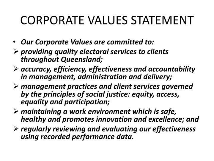 CORPORATE VALUES STATEMENT