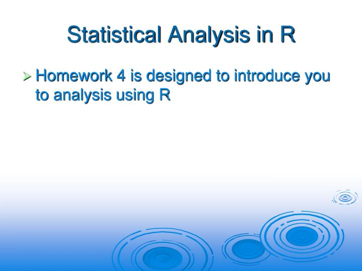 Statistical Analysis in R