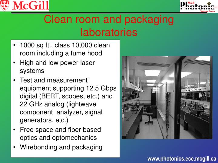 1000 sq ft., class 10,000 clean room including a fume hood